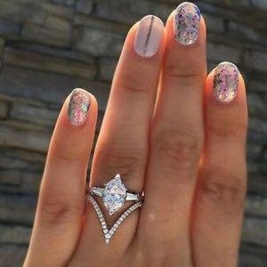 Luxury Wedding Ring Marquise Cut White Sapphire